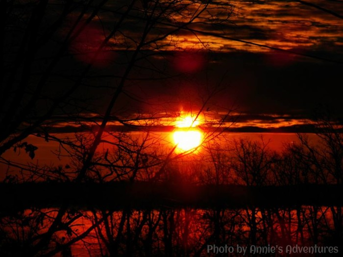 11. A glorious red sunrise over Kentucky Lake.