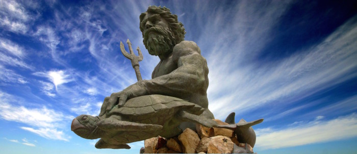 2. King Neptune watches over the shores at Virginia Beach.