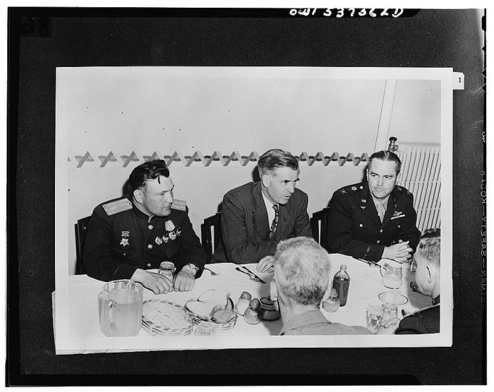 10. Russian and Alaskan Commanders meet in Fairbanks to dine at Ladd Field, 1944.
