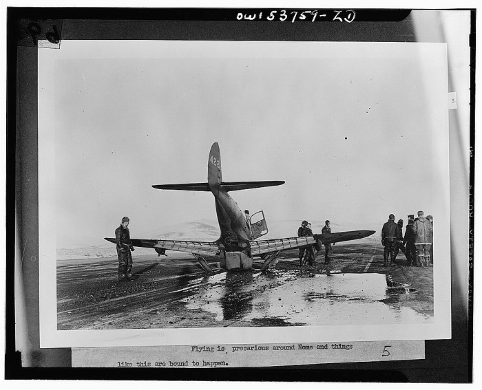 7. Another wrecked plane near the Air Transport Command in Nome, 1943.