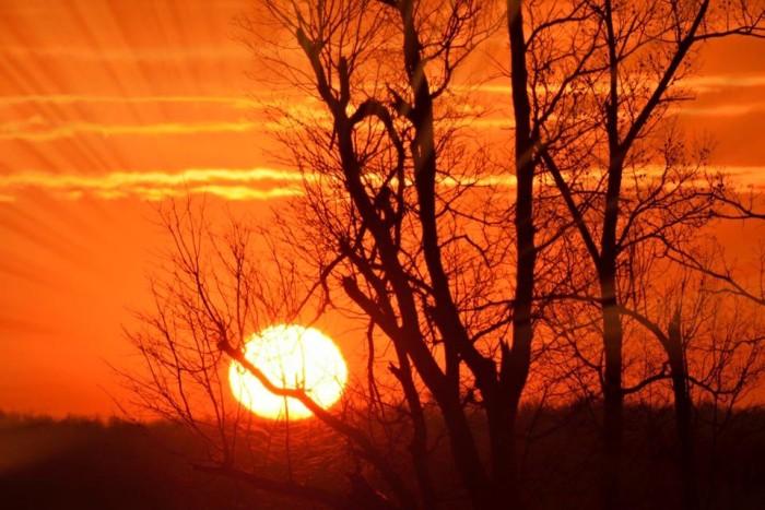4. A vivid orange sunrise over Lake Barkley.