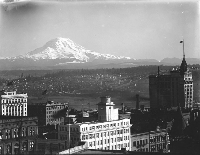 10. Looking over the east portion of Tacoma, with Mount Rainier in the distance. Taken exactly 100 years ago in 1916.