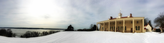 7. Snowy panorama of Mount Vernon near Alexandria.