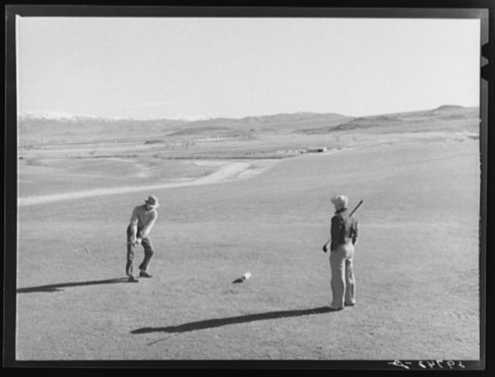4. A pair of golfers playing a round of golf in Reno, Nevada.