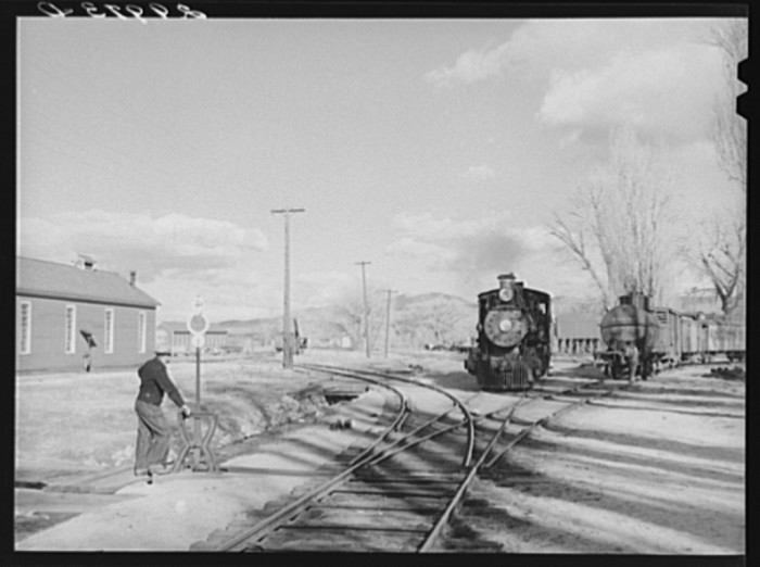 """12. """"Operating switch at railroad station. Carson City, Nevada"""""""