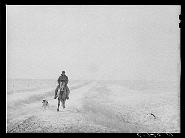 riding horse in blizzard - - life in south dakota