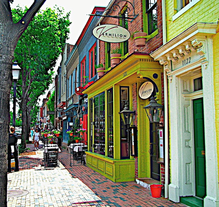 13. A colorful street scene in Old Town Alexandria.