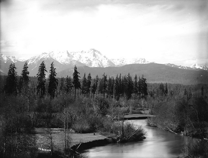 12. The Skokomish River captured near Lake Cushman in 1913, with the Olympic mountains in the background.