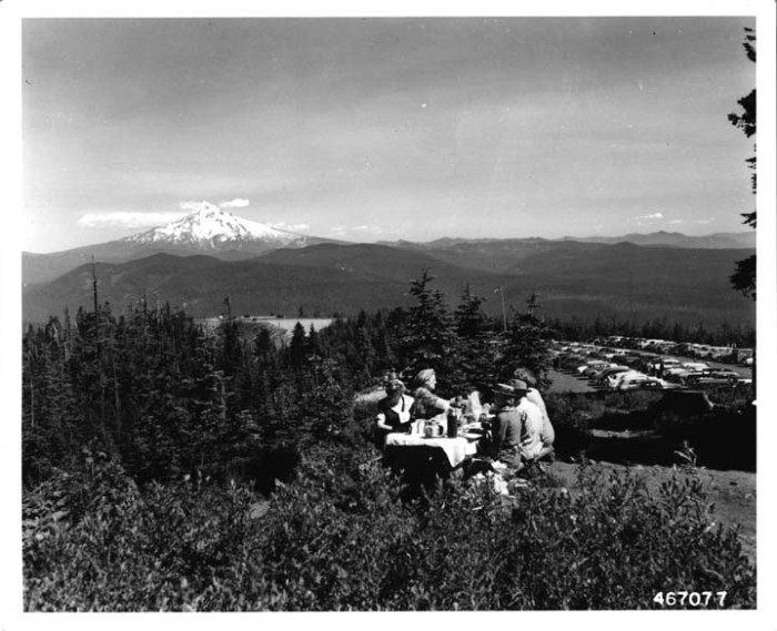 10. Picnicking at the Larch Mountain Campground, 1951.