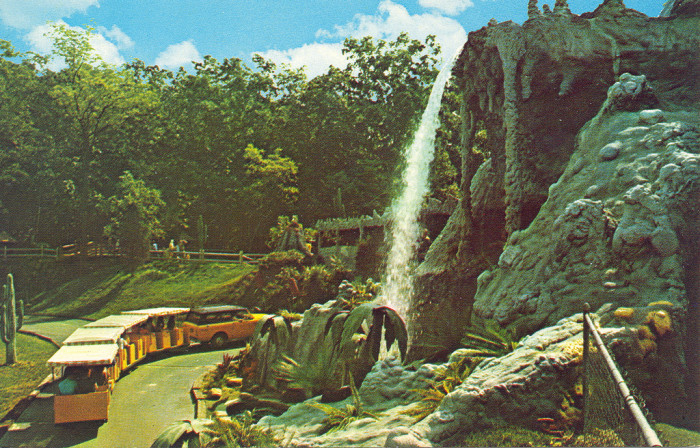During its early days, the property had a tropical theme, with a waterfall, palm trees, a volcano, even a waterslide.