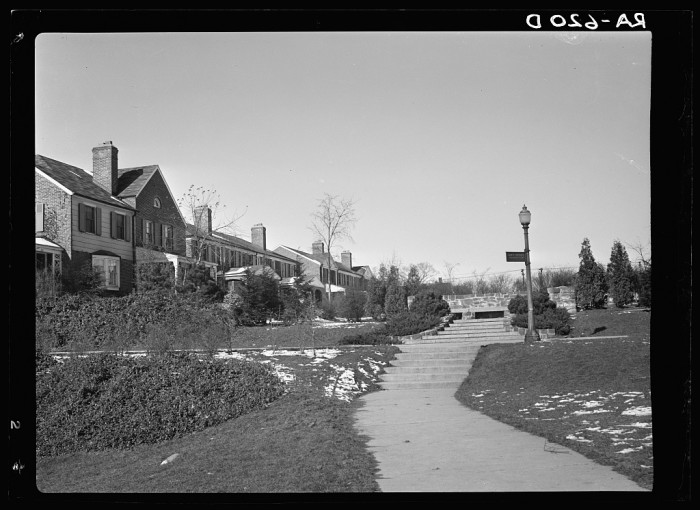 10. Radburn (in Fair Lawn) was a privately funded model town which furnished some of the ideas for the Suburban Resettlement Administration's Greenbelt towns. This photo highlights the belief that it was important to keep homes set back from main roads.
