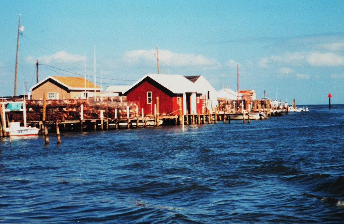 Red building at the dock