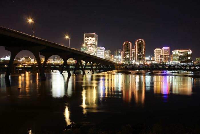 12. Richmond skyline at night.