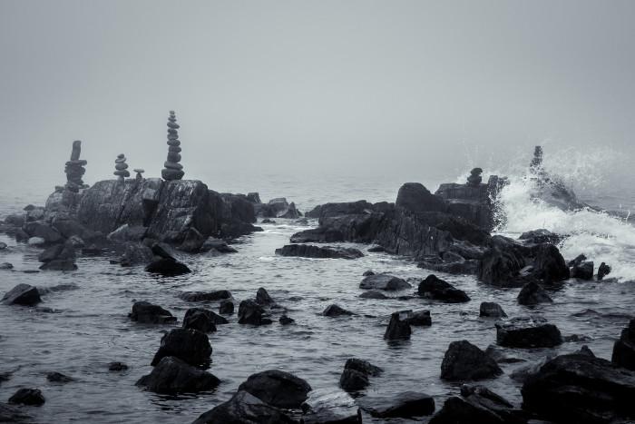 12. The rocky seacoast in Rye.