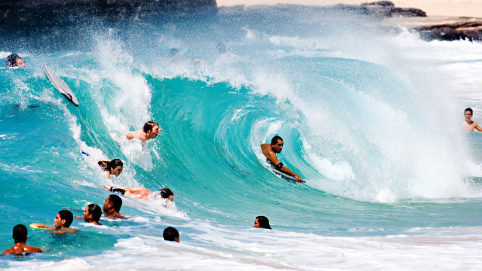 2) Sandy's Beach on Oahu is a haven for water sport enthusiasts.