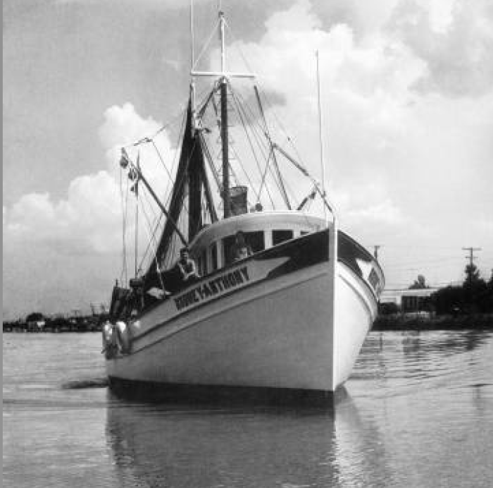 11. Shrimp boat on Bayou Lafourche, 1953