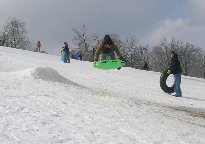 8. Sledding is popular and anticipated among the kids and some adults.