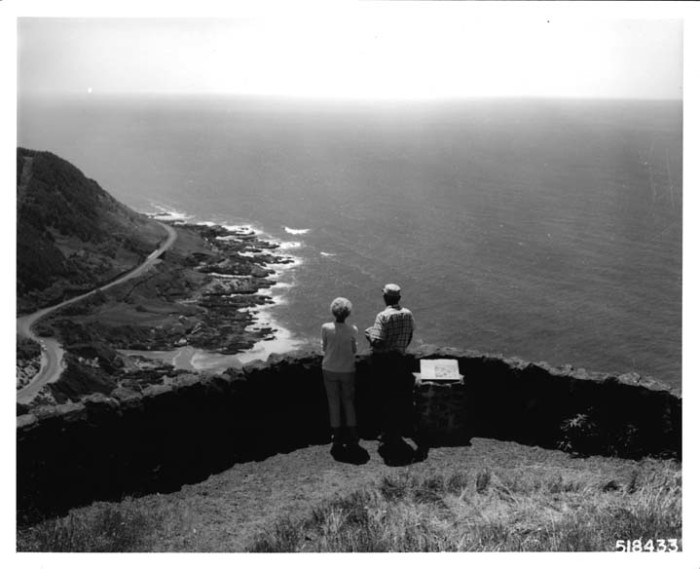 2. Visitors admiring the view at Cape Perpetua, 1968.