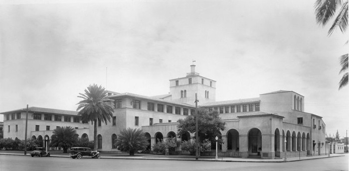 10) Taken in 1931, this photograph depicts a United States Post Office, Court House, and Customs House in Honolulu.