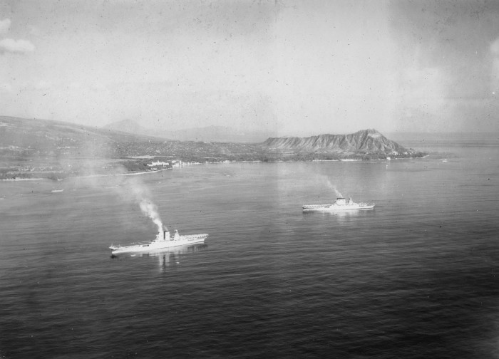 9) The USS Lexington and the USS Saratoga as pictured near the iconic Diamond Head crater.