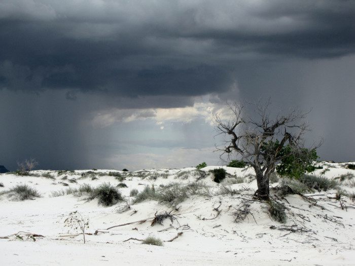 2. White Sands, near Alamogordo: This natural wonder is much better known, but it's especially dramatic during a storm.