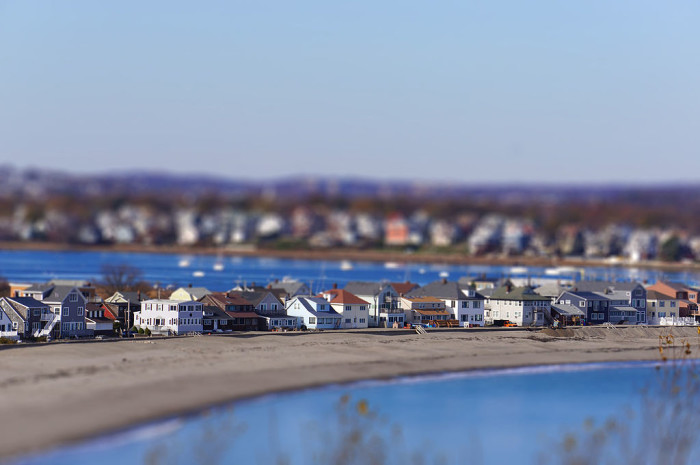 8. Beach houses on Point Shirley, Winthrop between Brewster Avenue and Bay View Avenue. Tilt-shift photography is so cool.