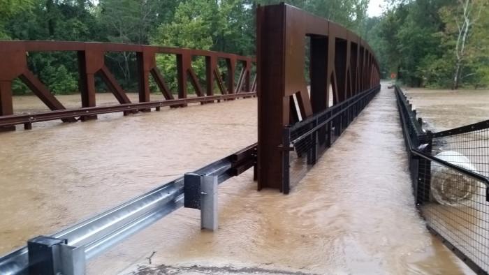 1. A flooded bridge on Nursery Road in Irmo. Photo taken on Oct. 8 2015.