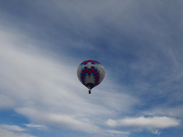 7. In a hot air balloon