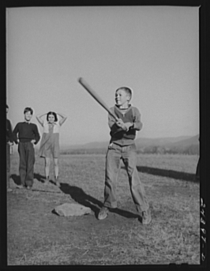 19. Kids play baseball at a school in Dailey (Randolph County) in 1941.