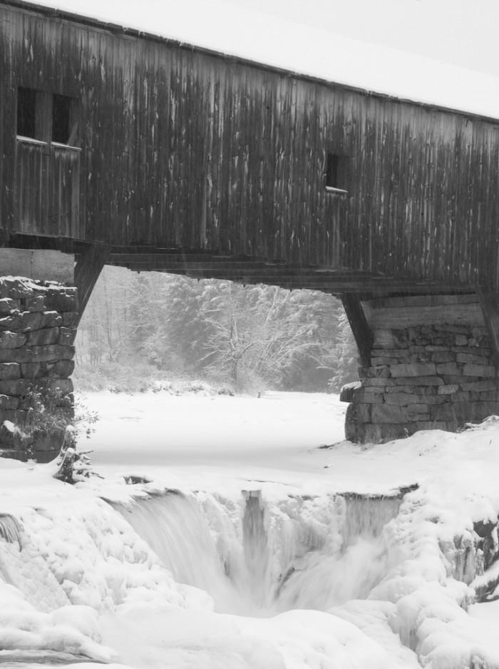 7. The partially frozen falls in Bath.