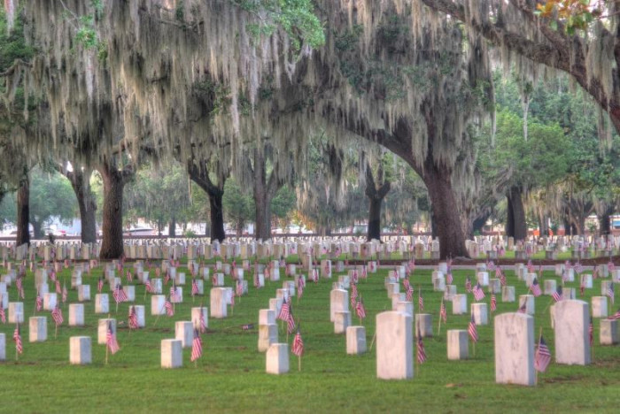 6. The trees and the water frame the location of this National Cemetery in South Carolina. Do you know where it is?
