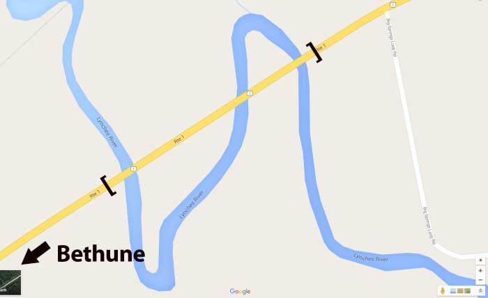 6. One bridge that crosses the same river THREE times - Bethune, SC