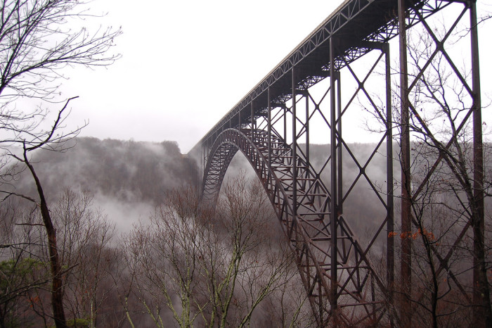 10. This was taken on a foggy day at the New River Gorge Bridge in Fayetteville.