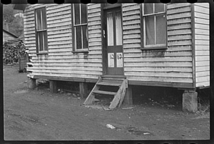 4. You can see the coal dust on this house at Pursglove Mine in Scotts Run, 1935
