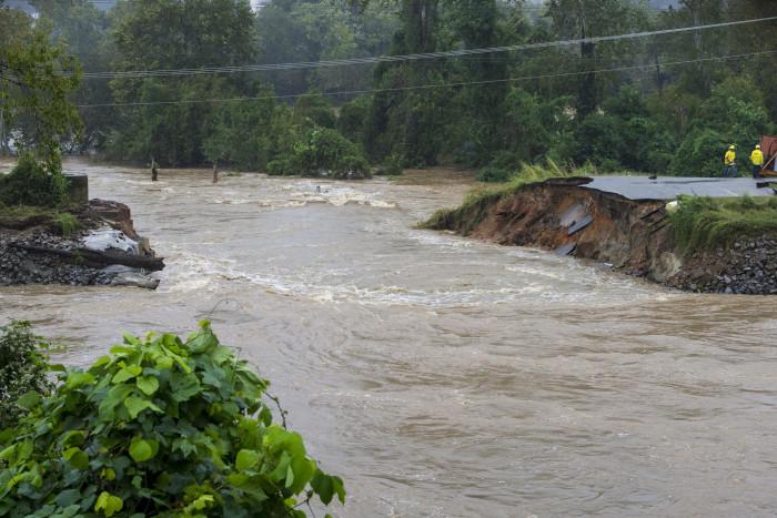 4. A levee breach in Columbia.