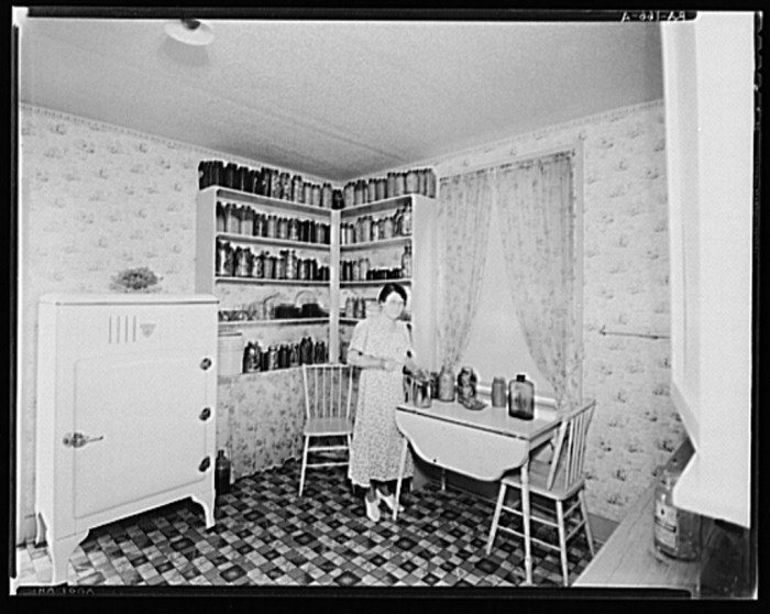 2. Kitchens were stocked with canned goods to prepare for shortages. (Dalworthington Gardens 1936)