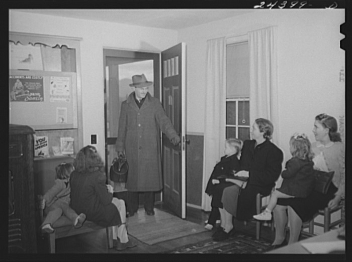 2. Dr. Tabor comes into a health clinic in Dailey to give measles vaccines to children in December 1941.