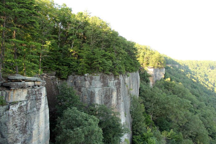 Thousands of climbers come to the New River Gorge every year for the vertical sandstone walls, visible on the trail.