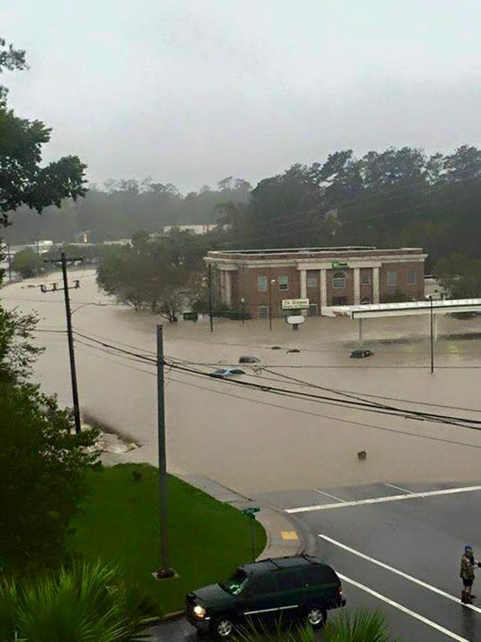 10. Cars have floated out of the TD Bank lot on Forest Drive near Columbia, SC on Oct. 4, 2015.