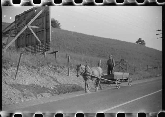 12. Here's a farmer on a horse-drawn wagon along the highway near Elkins in 1938.
