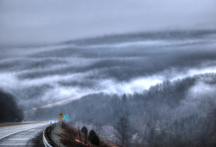 5. Here's an eerie shot of the interstate at Green Sulphur Springs.