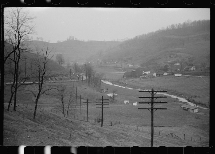 8. Here are some farms along a creek in Mineral County, 1940.