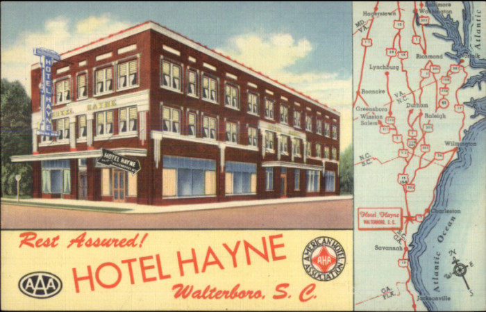 Walterboro's Hotel Hayne. A postcard from the 1930s or 40s.