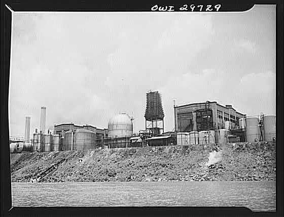 15. This is a chemical plant along the Kanawha River in Institute in 1943.