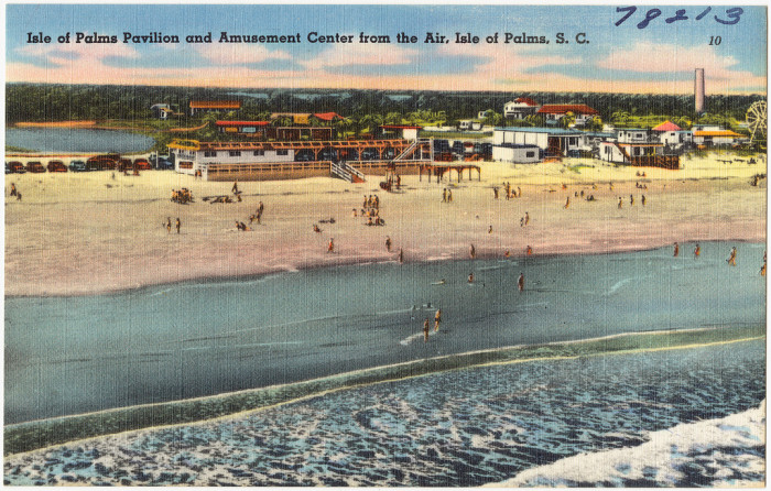 Isle of Palms aerial view postcard issued 1930-1945.