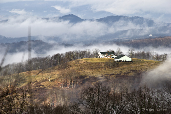6. The mountains near Lewisburg are filled with mist in this shot.