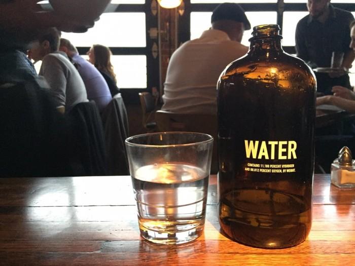 Water served from formaldehyde bottles.