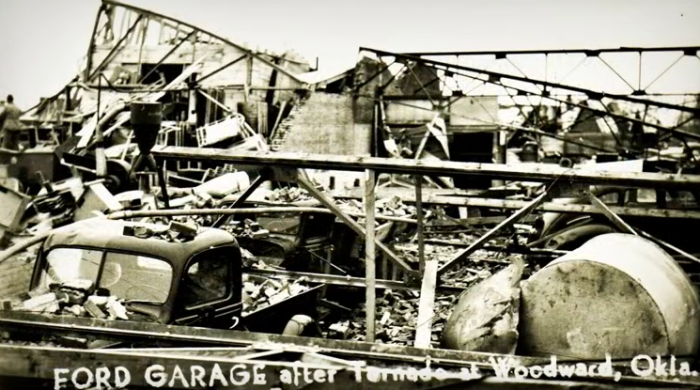 14. The Ford Garage left in shambles.