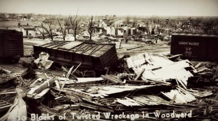 10. Blocks and blocks of twisted wreckage in Woodward.