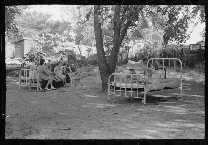 16. These beds were in the backyard of a family living in a community camp in Oklahoma City.
